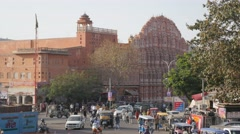 Palace of Winds and traffic on Manak chowk,Jaipur,India Stock Footage