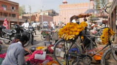 Flower sellers with bicycle on street,Jaipur,India Stock Footage