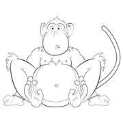 Surprised monkey illustration Stock Illustration