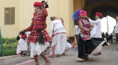 Traditional indian dancers at Tripolia gate,Jaipur,Gangaur,India Stock Footage