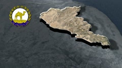 Anseba Region with Coat Of Arms Animation Map Stock Footage