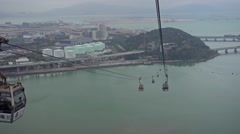 Ngong Ping 360 cable car on Lantau, Hong Kong Stock Footage