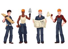 Set of industrial workers - foreman, builder, bricklayer, architect Stock Illustration