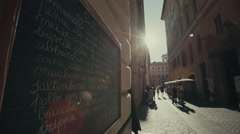 Restaurant menu board in Rome, Italy Stock Footage