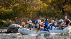 Rafting in Ukraine. Fun, risky, bold action. Stock Photos