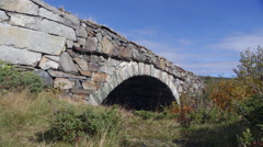 Old preserved bridge dovrefjell norway side view close slider left to right Stock Footage