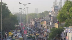 Busy road in old town,New Delhi,India Stock Footage
