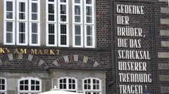 4k Front wall and inscript at gabled houses at historic marketplace city Bremen Stock Footage