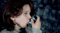 4k Dramatic Shot of a Sick Child Having Asthma and Inhaling Medicine  Stock Footage