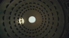 Circular roof and impluvium of the Pantheon of Rome Stock Footage