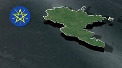 Benishangul-Gumuz Region with Coat Of Arms Animation Map Stock Footage