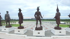 Statues Great King's of Thailand in Rajabhakti Park Stock Footage