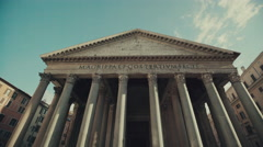 Tilt up shot of Pantheon of Rome, Italy. Stock Footage