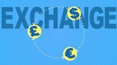 Money exchange international business concept loop Stock Illustration