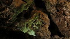 Cueva de los Verdes (Lanzarote)-the depth and the rockiness of the cave Stock Footage