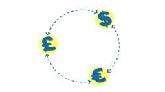 Money exchange international business concept loop Stock Footage