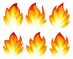 Six fire icon Stock Illustration