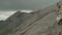 Rock to Mountain Range Focus 4K Stock Footage