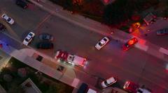 Emergency Vehicles Urban Night Police Scene Stock Footage