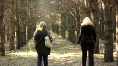 Women walk along a forest trail Stock Footage