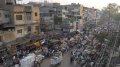 Busy spice market with transport of jute bags,New Delhi,India Stock Footage