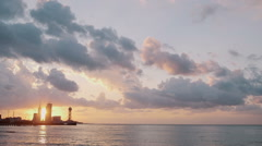 Sunset on Black sea with silhouette of Batumi Stock Footage