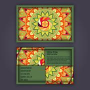 Vector vintage visiting card set. Floral mandala pattern and ornaments. Orien Stock Illustration
