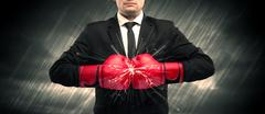 Boxing gloves clashing Stock Photos