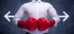 Boxing with arrows Stock Photos