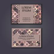 Vector Business card Design Template with Ornamental geometric mandala patter Stock Illustration