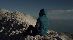 Girl Enjoying Rocky Mountain Peaks 4K Stock Footage