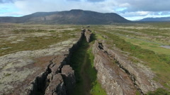 Aerial view of Thingvellir park in Iceland. Camera tilts up in the end. Stock Footage
