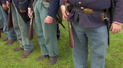 Steady cam shot of Civil War soldiers in a row Stock Footage