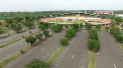 Flying over bicycle racing velodrome, empty stadium, UHD 4k 3840x2160. Stock Footage