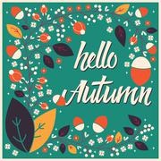 Autumn card design with floral frame and typographical message Stock Illustration