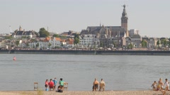 View on Nijmegen from the Waal river with Stevens church,Nijmegen,Netherlands Stock Footage