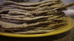 Flatbreads on the plate Stock Footage