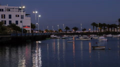 Arrecife Harbour- the night and quiet in a little harbor Stock Footage