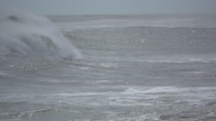 Dramatic slow mo waves rumble across frame Stock Footage