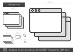 New tab line icon Stock Illustration
