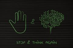 Stop & think, hand gesture and electronic brain Stock Illustration
