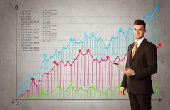 Colorful chart with numbers and businessman Stock Photos