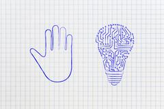Hand making a stop gesture and electronic lightbulb (idea) Stock Illustration
