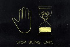 Hourglass with melting clock and hand making a stop gesture Stock Illustration
