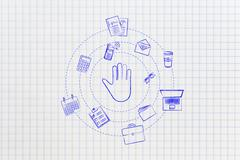Hand making a stop gesture surrounded by spinning office objects Stock Illustration