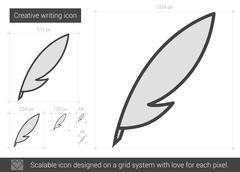 Creative writing line icon Stock Illustration