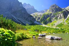 Mountain lake Zelene pleso in National Park High Tatra. Slovakia, Europe. Stock Photos