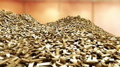 Pile of gold bars. business concept Stock Footage