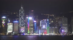 Light show in Hong Kong and Ferry boat Stock Footage