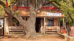 Luckenbach Texas Post Office, Store and Bar Stock Photos